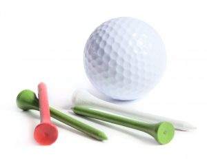 Golf ball with tees isolated on white background